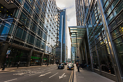 The glass and steel canyons of Canary Wharf as European markets follow US and Asian markets lower on Tuesday as investors continued to dump shares. London, February 06 2018.