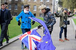 © Licensed to London News Pictures. 26/04/2016. London, UK. JOEY ESSEX waving European Union and Union Jack flags in Westminster, London during filming for a new series of Educating Joey Essex..  Photo credit: Ben Cawthra/LNP