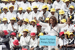 American talk show queen Oprah Winfrey speaks at the opening of Seven Fountains Primary School in Shayamoya, a remote town in eastern KwaZulu Natal,  Friday, 16 March 2007. Funded by Winfrey's public charity organisation Angel Network, the school will serve about 10 000 children and will be run by the KwaZulu Natal education department. Winfrey also opened an academy for girls outside Johannesburg in January. Picture: Giordano Stolley/SAPA
