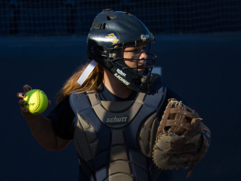 Vanguard Softball catcher <br /> photo by Nancy Porfirio/Shutter Diva Photography/Sports Shooter Academy 2016