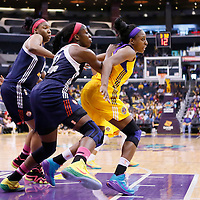 03 August 2014: Connecticut Sun forward Chiney Ogwumike (13) defends on Los Angeles Sparks forward Nneka Ogwumike (30) during the Los Angeles Sparks 70-69 victory over the Connecticut Sun, at the Staples Center, Los Angeles, California, USA.