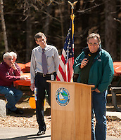Geoff Ruggles passes the microphone to Sheldon Morgan as he takes a moment to thank the crowd gathered in his honor celebrating his 40 years of service with the Town of Gilford Friday afternoon.  (Karen Bobotas/for the Laconia Daily Sun)
