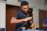 AFC Wimbledon striker Andy Barcham (17) dancing during the EFL Sky Bet League 1 match between AFC Wimbledon and Coventry City at the Cherry Red Records Stadium, Kingston, England on 11 August 2018.