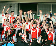30-11-2014 Rathmore captain Mark Reen holds the O'Donoghue Cup aloft after Rathmore defeated Legion in the East Kerry final in Kilarney on Sunday.<br /> Picture by Don MacMonagle