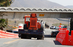 Heavy construction equipment is trailered in at the entrance that leads to where the prototype border walls will be constructed along the U.S.-Mexico border, on the corner of Enrico Fermi Drive and Via De La Amistad. Otay Mesa, San Diego, CA, USA, September 26, 2017. Photo by Nelvin C. Cepeda/San Diego Union-Tribune/TNS/ABACAPRESS.COM