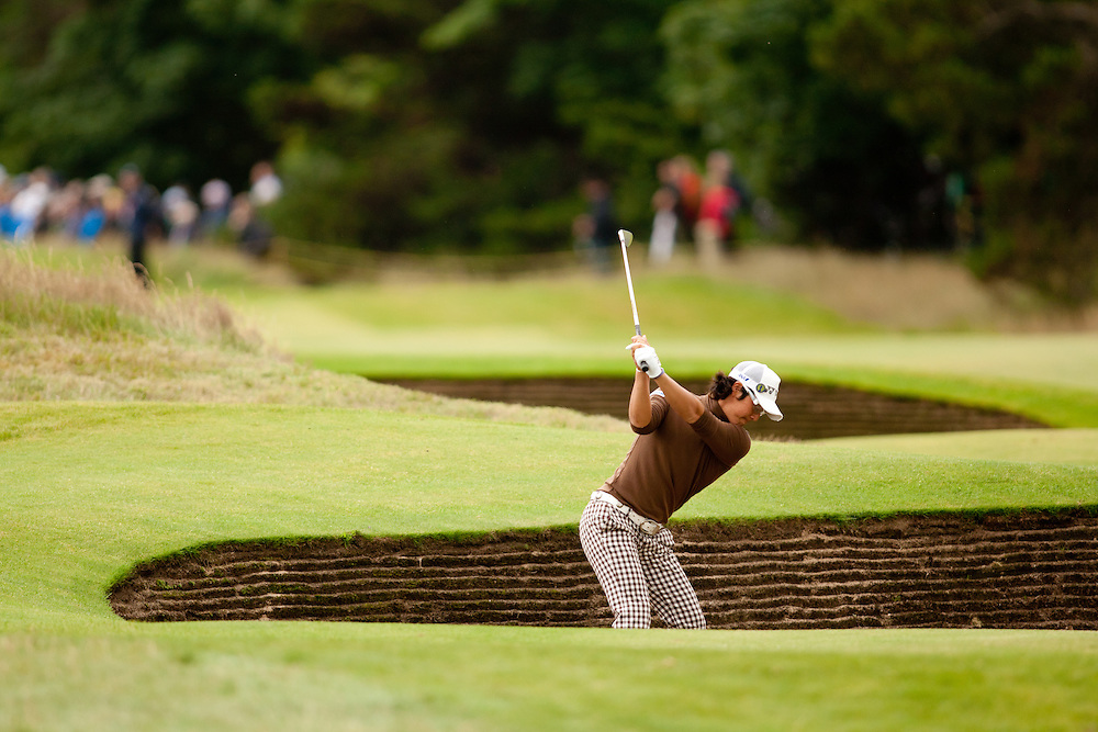 LYTHAM ST. ANNES, ENGLAND - JULY 19:  Ryo Ishikawa of Japan plays a bunker shot during the first round of the 141st Open Championship at Royal Lytham St Annes Golf Club in in Lytham St. Annes, England on July 19, 2012. (Photograph ©2012 Darren Carroll) *** Local Caption *** Ryo Ishikawa