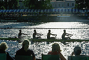 Henley, GREAT BRITAIN, 2012  Britannia Challenge Cup, M4X, Upper Thames Rowing Club, passing Phyllis Court, silhouette  Thursday   18:57:05   28/06/2012  [Mandatory Credit, Intersport Images]. ...Rowing Courses, Henley Reach, Henley, ENGLAND . HRR