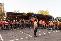 team Netherlands women arrives at the stadium during the FIFA Women's World Cup 2019 play off first leg qualifying match between The Netherlands and Denmark at the Rat Verlegh stadium on October 05, 2018 in Breda, The Netherlands