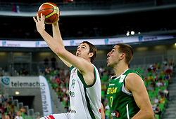 Erazem Lorbek of Slovenia vs Jonas Valanciunas of Lithuania during friendly match before Eurobasket Lithuania 2011 between National teams of Slovenia and Lithuania, on August 24, 2011, in Arena Stozice, Ljubljana, Slovenia. Slovenia defeated Lithuania 88-66. (Photo by Vid Ponikvar / Sportida)