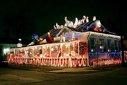 22nd December 2010. New Orleans, Louisiana, USA. <br /> Christmas lights and decorations adorn a house.<br /> Photo; Charlie Varley