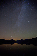 Stary sky over Lake McDonald, Glacier National Park. Montana.
