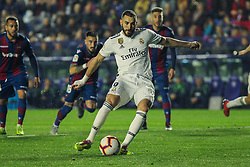 February 24, 2019 - Valencia, Valencia, Spain - Benzema of Real Madrid  scoring a goal  during La Liga Spanish championship, football match between Levante and Real Madrid, February 24th, Ciudad de Valencia stadium, in Valencia, Spain. (Credit Image: © AFP7 via ZUMA Wire)