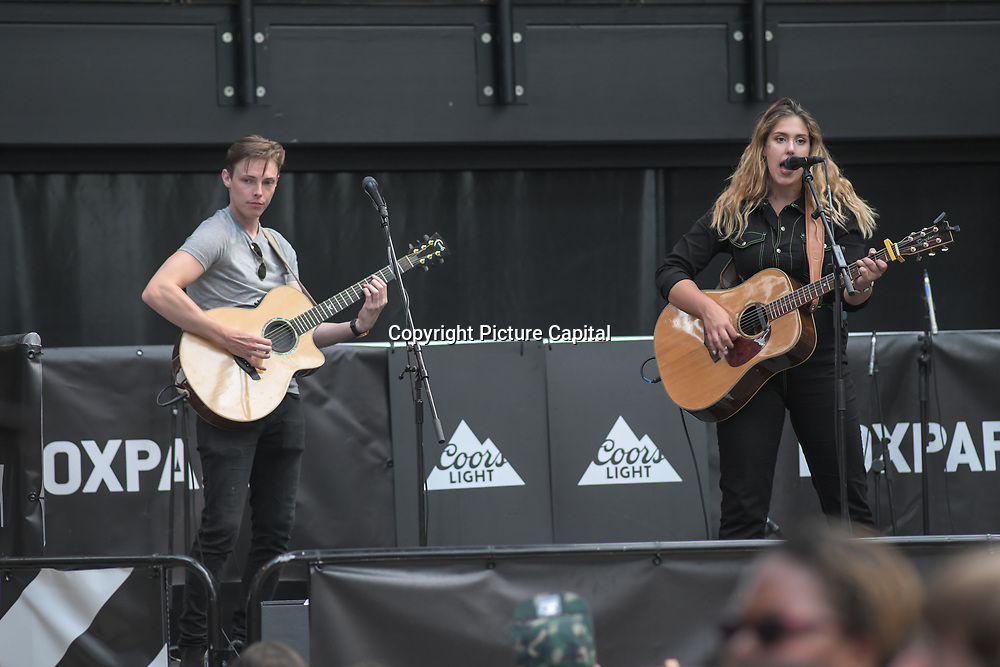 Natalie & Joey performs at the International Busking Day is returning to Wembley Park on 20 July 2019, London, UK.