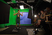 April 2, 2016; Indianapolis, Ind.; Megan Mullings gestures to her teammates during their green screen session at the NCAA Headquarters.