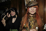 Hannah Hanra and 'Princess' Julia, Stephen Jones Summer Hat party to celebrate 25 years of Milllinery. Debenham House, 8 Addison Rd. Holland Park, London. 13 July 2006.  ONE TIME USE ONLY - DO NOT ARCHIVE  © Copyright Photograph by Dafydd Jones 66 Stockwell Park Rd. London SW9 0DA Tel 020 7733 0108 www.dafjones.com