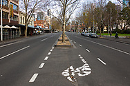 An empty Lygon Street, usually full of traffic and activity, now deserted during COVID-19. A further 238 Coronavirus cases have been discovered overnight, bringing Victoria's active cases to over 2000, speculation is rising that almost all of Victoria's current cases stem from the Andrews Government botched hotel quarantine scheme as well as the Black Lives Matter protest.  Premier Daniel Andrews warns that Victoria may go to Stage 4 lockdown if these high numbers continue. (Photo be Dave Hewison/ Speed Media)