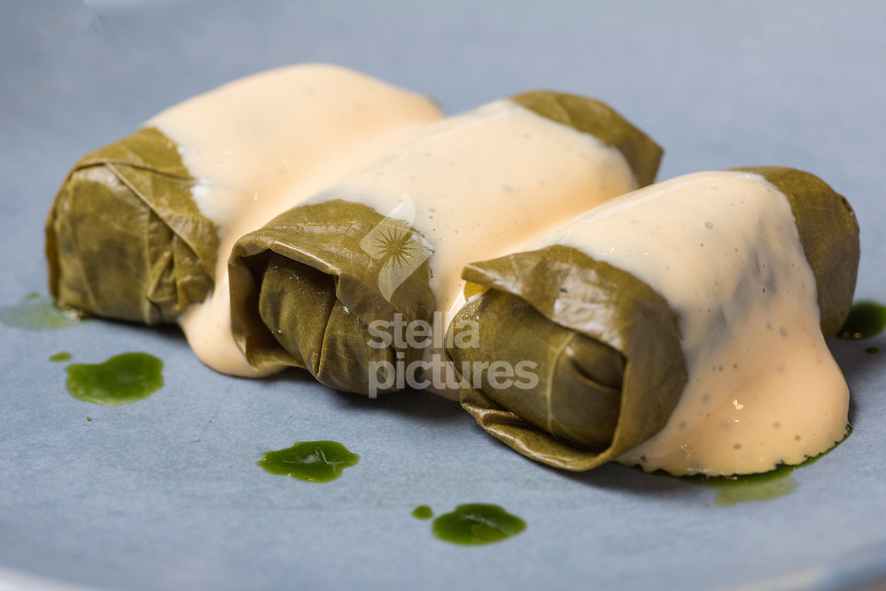 Dolmades with avgolemono, at Meraki as part of Evening Standard restaurant review.<br /> Picture by Daniel Hambury/Stella Pictures Ltd 07813022858<br /> 10/07/2017