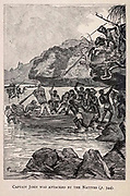 Captain John was Attacked by the Natives from the book ' Mistress Branican ' by Jules Verne, illustrated by Leon Benett. The story begins in the United States, where the heroine, Mistress Branican, suffers a mental breakdown after the death by drowning of her young son. On recovering, she learns that her husband, Captain Branican, has been reported lost at sea. Having acquired a fortune, she is able to launch an expedition to search for her husband, who she is convinced is still alive. She leads the expedition herself and trail leads her into the Australian hinterland. Mistress Branican (French: Mistress Branican, 1891) is an adventure novel written by Jules Verne and based on Colonel Peter Egerton Warburton and Ernest Giles accounts of their journeys across the Western Australian deserts, and inspired by the search launched by Lady Franklin when her husband Sir John Franklin was reported lost in the Northwest Passage. Translated by A. Estoclet, Published in New York, Cassell Pub. Co. 1891.