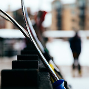 Skis leaning against the handrail of Nick Wilson's cafe at Jackson Hole Mountain Resort in Wyoming.