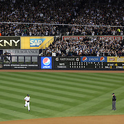Mariano Rivera, the New York Yankees pitcher, leaves the bull pen for the final time and heads to the mound during his last game at Yankee Stadium before his retirement during the New York Yankees V Tampa Bay Rays, American League baseball game at Yankee Stadium. Mariano Rivera is the last Major League player still wearing Jackie Robinson's No. 42. and holds the record for the number of saves in Major League Baseball. Yankee Stadium, The Bronx, New York USA. 26th September 2013. Photo Tim Clayton