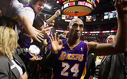 File photo of PORTLAND, OREGON-4/10/13--Los Angeles Lakers Kobe Bryant after the Lakers beat the Portland Trail Blazers, 113-106, at the Rose Garden in Portland Wednesday night. Bryant scored 47 points. Photo by Randy L. Rasmussen/The Oregonian LC- The Oregonian