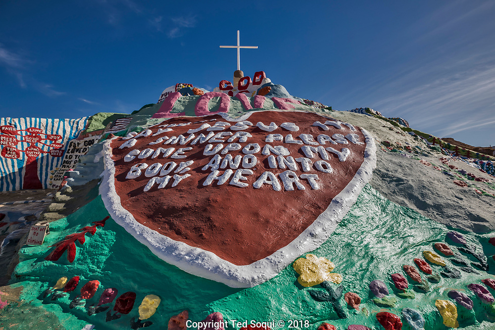 Salvation Mountain at the entrance of Slab City.<br /> Slab City and the local environs.