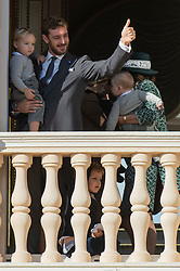 Pierre Casiraghi with Stefano Ercole Casiraghi, Princess Caroline of Hanover with Maximilliam Casiraghi, Francesco Casiraghi, Alexandre Casiraghi are attending from the balcony the parade at the Palace Square during the National Day ceremonies in Monaco on November 19, 2018. Photo by ABACAPRESS.COM