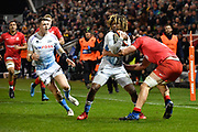 Sale Sharks wing Marland Yarde cuts back inside as   Saracens second-row Callum Hunter-Hill attempts a tackle during a Premiership Rugby Cup Semi Final won by Sale 28-7, Friday, Feb. 7, 2020, in Eccles, United Kingdom. (Steve Flynn/Image of Sport)