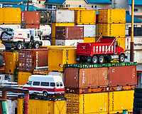 These shipping containers and vehicles are real, not toys. Ketchikan Harbor. Image taken with a Nikon D300 camera and 18-200 mm VR lens (ISO 200, 200 mm, f/6.3, 1/160 sec).