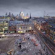 St. Pauls, London, England, View from adjacent building, stitched images shot on Canon 5D MKii with 24mm TSL. 4 seconds at F11.