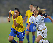 Beijing, CHINA.   Olympic Football, Women's Gold  Medal Game, USA vs BRA,   left. Brazil's CHRISTINE. right, USA No.2 Heather MITTS, chase for the ball during the final, at the Beijing Workers Stadium. Thursday,  21.08.2008 [Mandatory Credit: Peter SPURRIER, Intersport Images]
