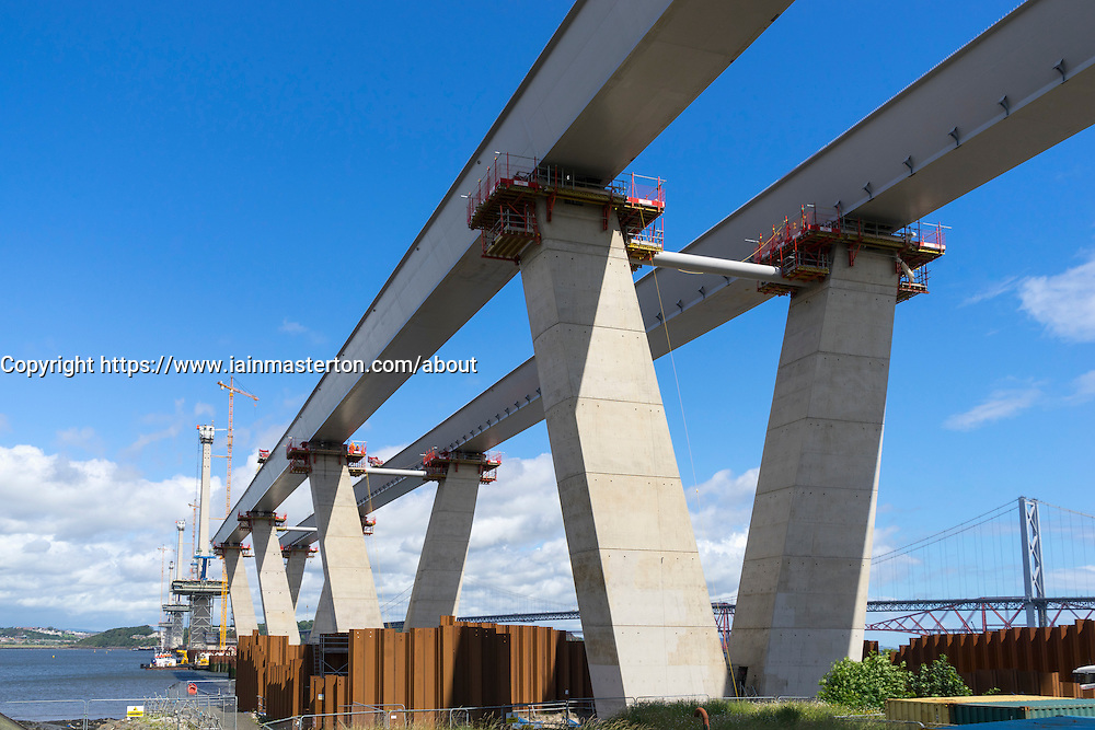 Approach viaducts of new Queensferry Crossing bridge (spanning River Forth) under Construction at South Queensferry in Scotland United Kingdom