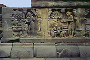 Carving at the Buddhist monument in Borobudur, Indonesia. <br /> <br /> Editions:- Open Edition Print / Stock Image
