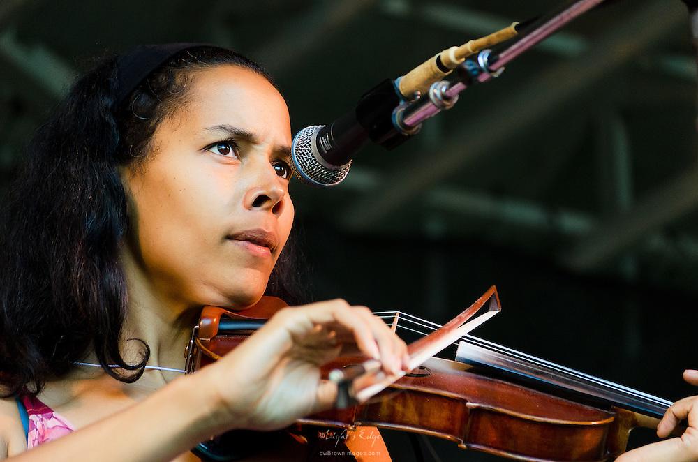 Rhiannon Giddens, of the Grammy Award winning Carolina Chocolate Drops, on fiddle at the 2012 Appel Farm Arts & Music Festival.