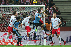 November 10, 2017 - Warsaw, Poland - Jose Gimenez (URU), Mauricio Lemos (URU), Bartosz Bereszynski (POL), Kamil Glik (POL), Jakub Swierczok (POL)  in action during the international friendly match between Poland and Uruguay at National Stadium on November 10, 2017 in Warsaw, Poland. (Credit Image: © Foto Olimpik/NurPhoto via ZUMA Press)
