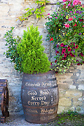 Beer barrel at The Cotswolds Arms inn traditional old gastro pub in Burford in The Cotswolds, Oxfordshire, UK