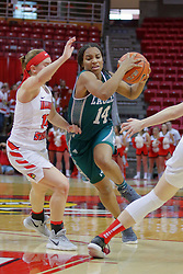 10 December 2017: Courtnie Lewis defended by Paige Saylor during an College Women's Basketball game between Illinois State University Redbirds and the Eagles of Eastern Michigan at Redbird Arena in Normal Illinois.