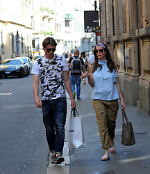 Milan, Riccardo Montolivo and his wife Cristina De Pin, waiting sweet Riccardo Montolivo, Milan and National football player, surprised to stroll through the streets of the city center with his wife Cristina De Pin, waiting sweetly. Here they are while shopping in Via Montenapoleone, then a walk home.