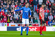Oliver Hawkins of Portsmouth (9) reacts during the EFL Sky Bet League 1 first leg Play Off match between Sunderland and Portsmouth at the Stadium Of Light, Sunderland, England on 11 May 2019.