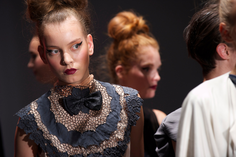 Models participate in a rehearsal for the Bora Aksu spring 2011 collection at the On/Off venue in Bloomsbury Square, London on 17 September 2010.