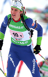 GREGORIN Teja of Slovenia during the relay race of the second stage of the e.on Ruhrgas IBU Biathlon World Cup on Sunday December the 13th, 2009 in Hochfilzen - PillerseeTal, Austria. (Photo by Pierre Teyssot / Sportida.com)