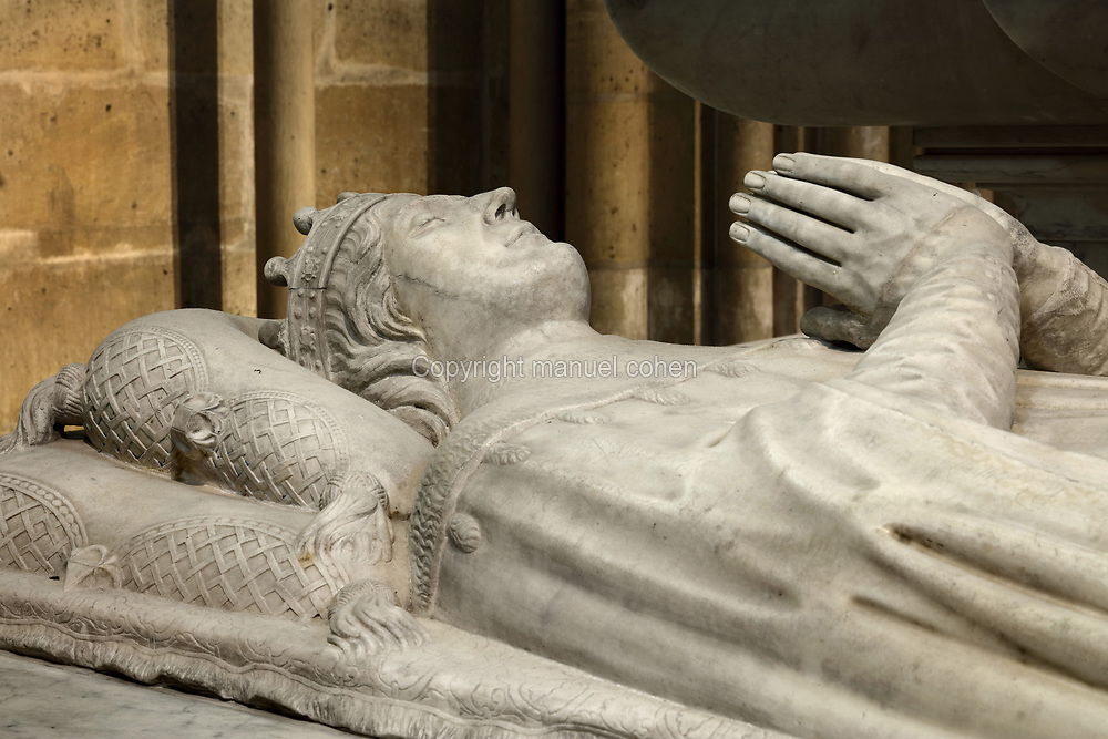 Royal tomb, with effigy of Charles duke of Orleans, 1394-1465, known as the Poet, father of Louis XII, in the Basilique Saint-Denis, Paris, France. The basilica is a large medieval 12th century Gothic abbey church and burial site of French kings from 10th - 18th centuries. Picture by Manuel Cohen