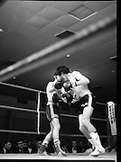 Nash vs Leon Championship Fight.    (N55)..1980..14.12.1980..12.14.1980..14th December 1980..At the Burlington Hotel, Dublin, Charlie Nash defended his European Lightweight Title when he took on Spain's Francesco Leon. .Image shows both boxers trading punches as Leon forces Nash back to the ropes.