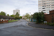 Tower blocks of social housing in Highgate, the inner city area of Birmingham which is virtually deserted under Coronavirus lockdown on 29th April 2020 in Birmingham, England, United Kingdom. Coronavirus or Covid-19 is a new respiratory illness that has not previously been seen in humans. While much or Europe has been placed into lockdown, the UK government has put in place more stringent rules as part of their long term strategy, and in particular social distancing.