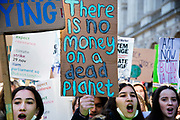 Global Climate Strike in Westminster, London, UK on November 29th 2019. Young people take part in a Friday protest, part of a global youth strike to highlight the climate emergency.