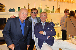 Left to right, SIR TERENCE CONRAN, SEBASTIAN CONRAN and JASPER CONRAN at the launch of the Conran Shop at Selfridge's, Oxford Street, London on 22nd September 2015.