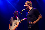 Sleaford Mods live at the Koko in Camden.  Sleaford Mods is a duo based in Nottingham, composed of vocalist Jason Williamson and musician Andrew Robert Lindsay Fearn. The music is furious with Williamson on vocals and Fearn behind the pre-programmed music.