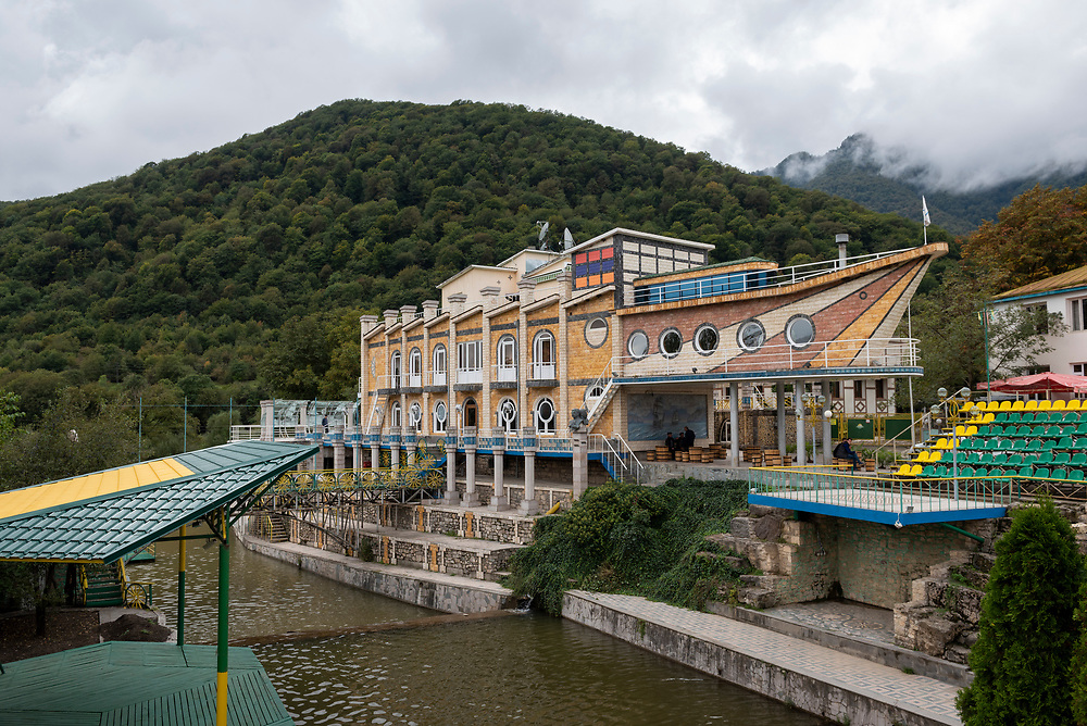 The Eclectic Hotel in the village of Vank, in the Martakert district of Nagorno-Karabakh. Shaped like a boat, it's the work of Levon Hairapetyan, a Russia-based Armenian businessman and native of Vank.<br /> <br /> (September 25, 2016)