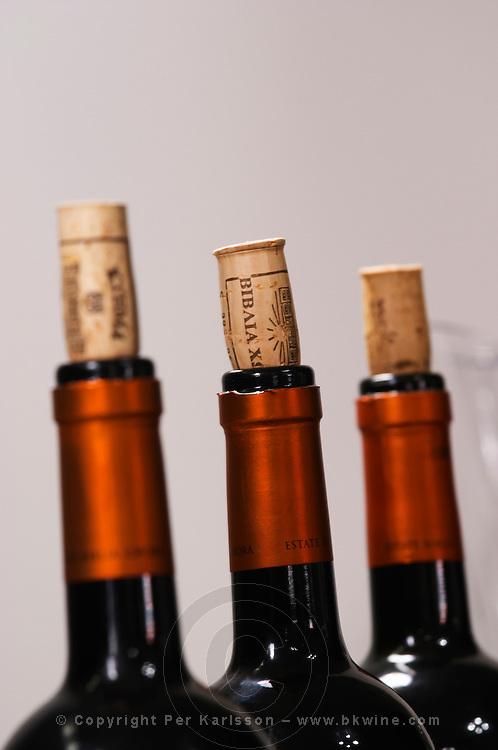 Bottle necks. Biblia Chora Winery, Kokkinohori, Kavala, Macedonia, Greece