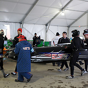 Winter Olympics, Vancouver, 2010. The USA-1 team of Curtis Tomasevicz, Steve Mesler, Justin Olsen and Steven Holcomb  prepare for a practice run during the Four-man Bobsleigh competition at Whistler Sliding Centre , Whistler, during the Vancouver Winter Olympics. 25th February 2010. Photo Tim Clayton